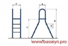 Лестница 4+4 ступеней ELEVADA EEP Kripsol 304 сталь